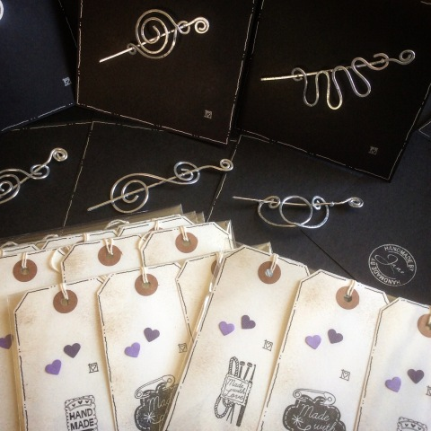 Shawl pins and labels